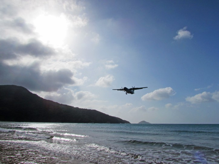 Plane coming in to Con Son island