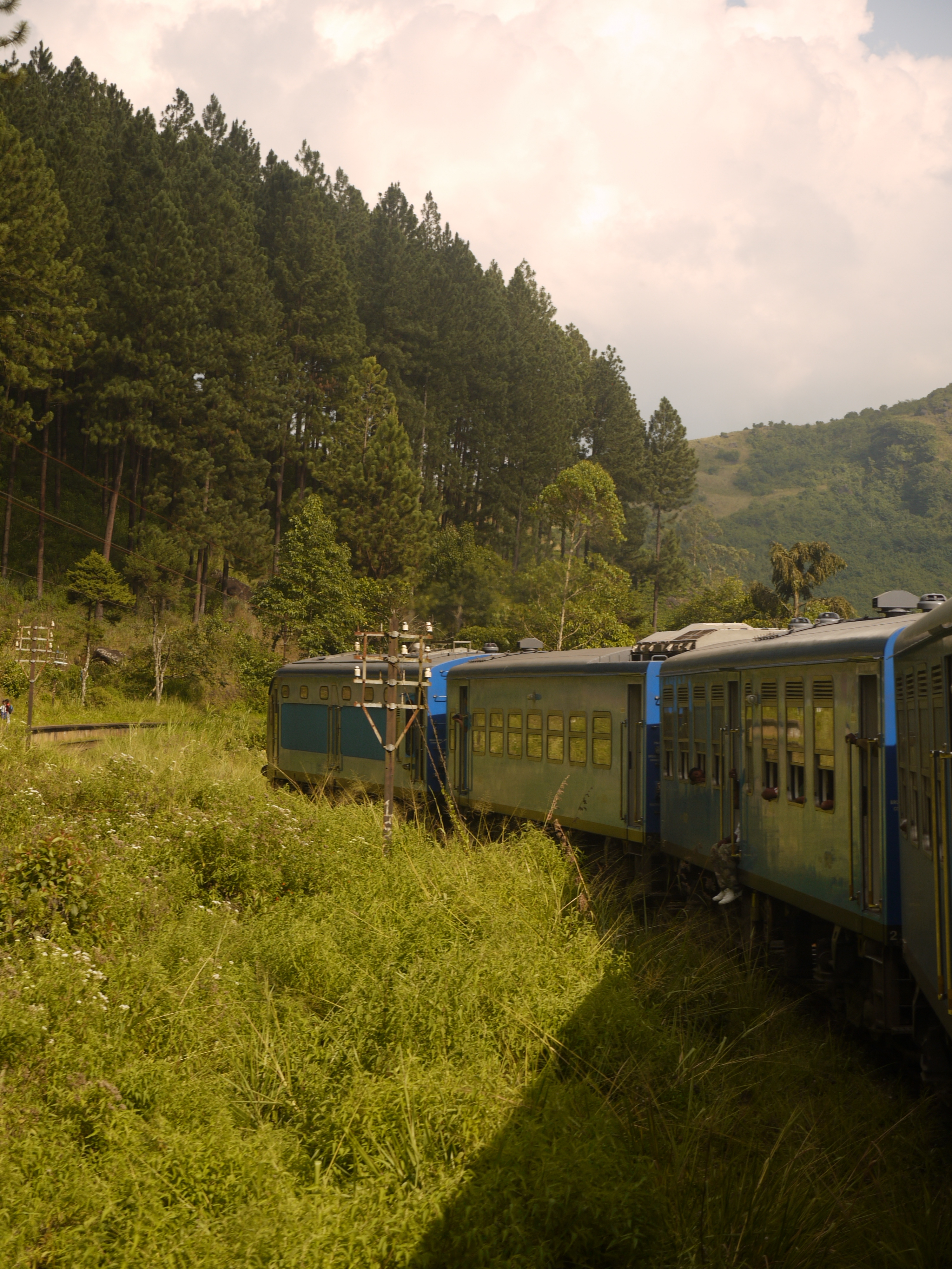 Train winds through the green Sri Lankan Hill Country