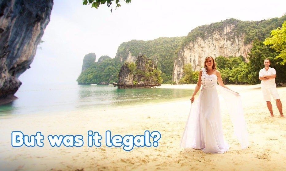a beach wedding performed by a licensed minister