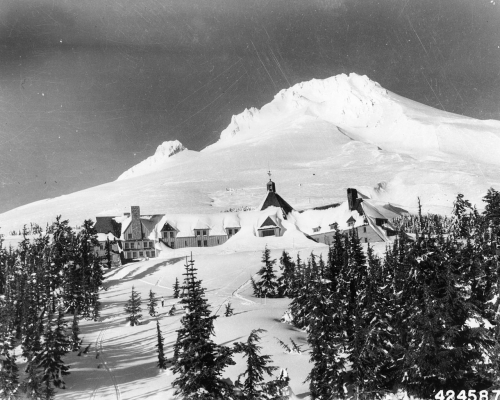 Mt Hood and Timberline Lodge, 1943.