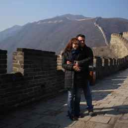 A romantic moment on the Great Wall of China, Mutianyu section