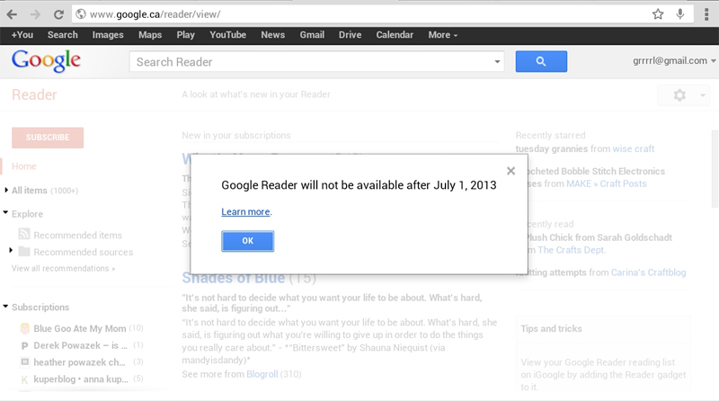 Google Reader's death notice.