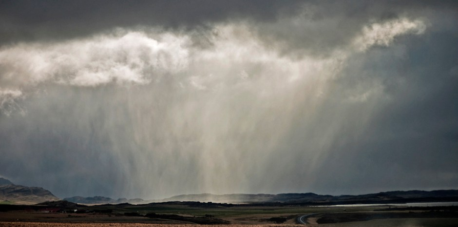 Stormy weather in West Iceland.