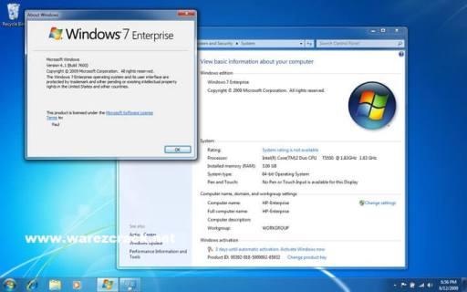 Windows 7 Enterprise Activation Code, Product Key Crack Free