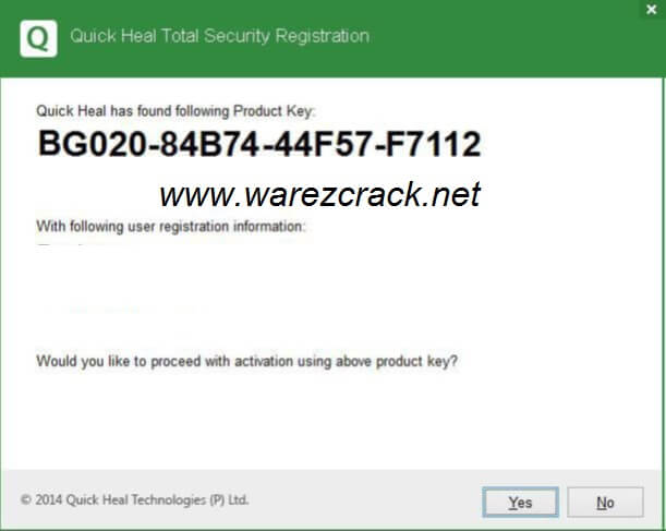 quick heal total security 2014 registration product key