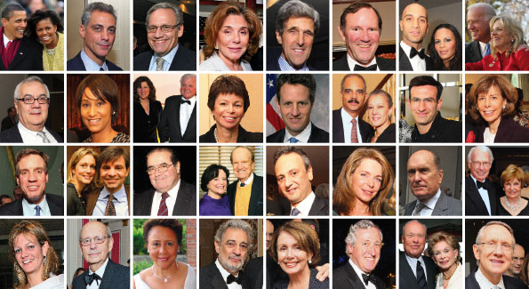 Top Row: President Barack Obama and First Lady Michelle Obama, Rahm Emanuel, Bob Woodward, Teresa Heinz Kerry, John Kerry, Don Graham, Adrian and Michelle Fenty, Vice President Joseph Biden and Jill Biden. Second row: Rep. Barney Frank, Desirée Rogers, Victoria and Sen. Ted Kennedy, Valerie Jarrett, Timothy Geithner, Eric Holder and Sharon Malone, Peter Orzsag, Jane Stanton Hitchcock. Third row: Sen. Mark Warner, Alexandra Wentworth and George Stephanopolous, Justice Antonin Scalia, Elizabeth and George Stevens, Salem Abdullah Al-Jaber Al-Sabah, Queen Noor, Robert Duvall, Roger Sant. Fourth row: Katharine Weymouth, Justice Stephen Breyer, Sheila Johnson, Plácido Domingo, Speaker Nancy Pelosi, Amb. Pierre Vimont, Ted and Annette Lerner, Sen. Harry Reid.