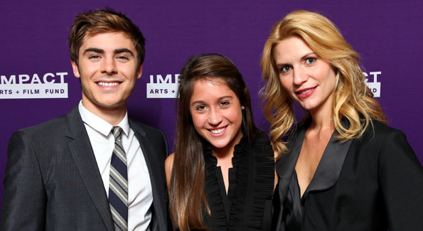 Zac Efron, Sissy Dreyer and Claire Danes. (Photo by Tony Powell courtesy of IMPACT ARTS and FILM FUND)