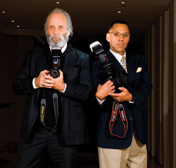 Photographers Kyle Samperton (left) and Tony Powell at the Park Hyatt Hotel. (Photo by Joseph Allen)
