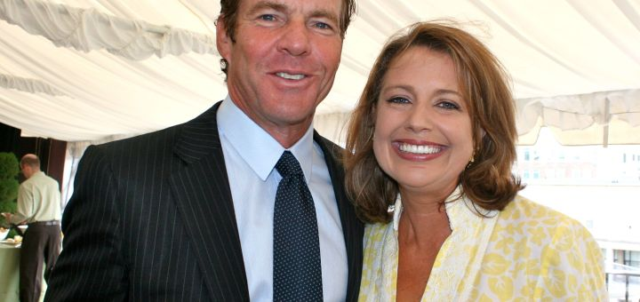 Dennis Quaid and WJLA host Rebecca Cooper at the Thompson/Reuters/McLaughlin Brunch at the Hay Adams Hotel
