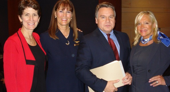 Laurie Curtis, VP of American Airlines, Nancy Rivard, founder of Airline Ambassadors, Rep. Chris Smith and Deborah Sigmund. Courtesy Photo.