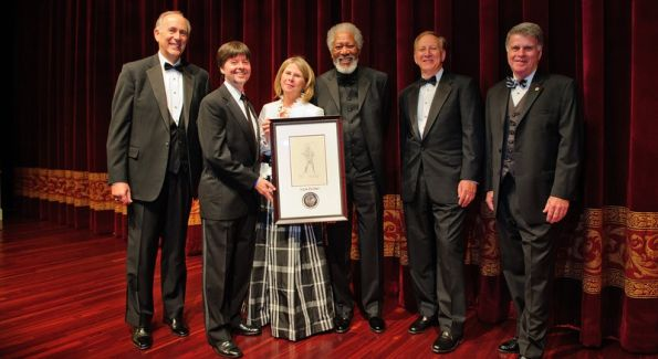 Bill Couper, President of Bank of America Mid-Atlantic; awardee Ken Burns; Foundation Executive Director Thora Colot; Gala chair Morgan Freeman; Foundation Chairman and President Ken Lore; and Archivist of the United States David S. Ferriero. Image courtesy of PhotographyByAlexander.com.