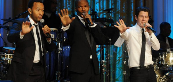 From left, John Legend, Jamie Foxx and Nick Jonas pay tribute to Motown at the White House. Photo from Getty Images.