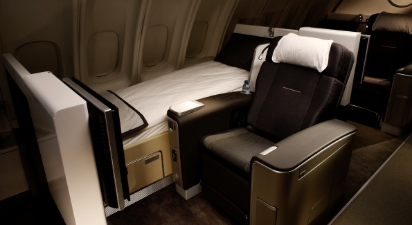 A sneak peek at Lufthansa's revamped first class cabin for its Boeing 747-400 aircraft.