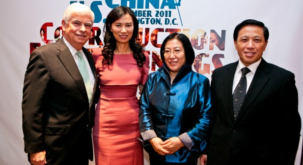 Chris Dodd, Wendi Murdoch, Mrs. Zhang, and Ambassador Zhang. (Photo by )