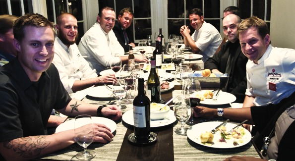 (from left) Chefs Bryan Voltaggio, Charlie Palmer, Cathal Armstrong and Matt Hill at Volt. (photo by Anchy Wei)