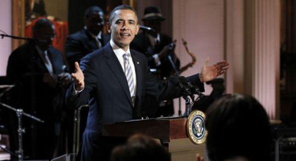 Obama salutes the blues at the White House. (AP Photo by Pablo Martinez Monsivais)