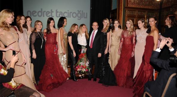 "Mrs. Fugen Tan, Yasemin Taciroglu, Nedret Taciroglu, and Ambassador of Turkey Namk Tan with models during finale of fashion show, ""One Rug, Thousands of Words,"" at Turkish Embassy Residence. (Photo courtesy of Hamza Yildirim)"