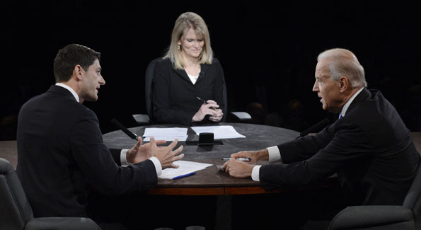 Rep. Paul Ryan and Vice President Joe Biden go at it as moderator Martha Raddatz holds her own