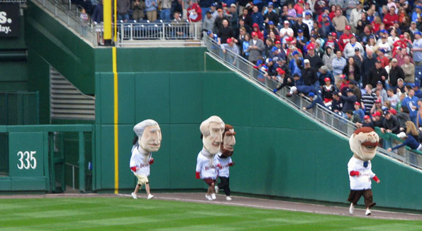 Nationals' Presidential mascots duke it out. (Photo by Terrence via Wikimedia)