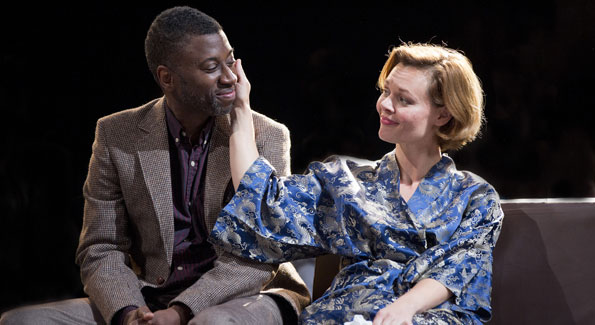 """Teagle F. Bougere (Henry) and Caroline Bootle Pendergast (Charlotte) in """"The Real Thing."""" (Photo by Scott Suchman)"""