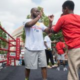 "Mike ""Yes Indeed"" Reed working out with DC youth from the local Boys and Girls club"