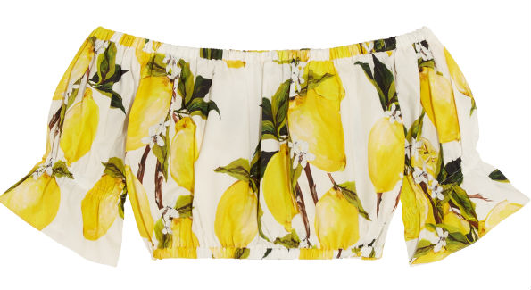 Dolce & Gabbana lemon print off-the-shoulder top ($375), saksfifthavenue.com