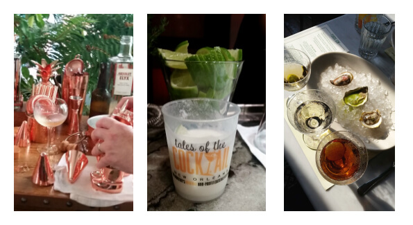 Left to right: Cocktails at Absolut's Elyx House, a Coconut Gimlet at the Martin Miller's Gin Explorer's Lounge, Ford's Gin Martinis and Oysters at Seaworthy. Photos courtesy of Kelly Magyarics.