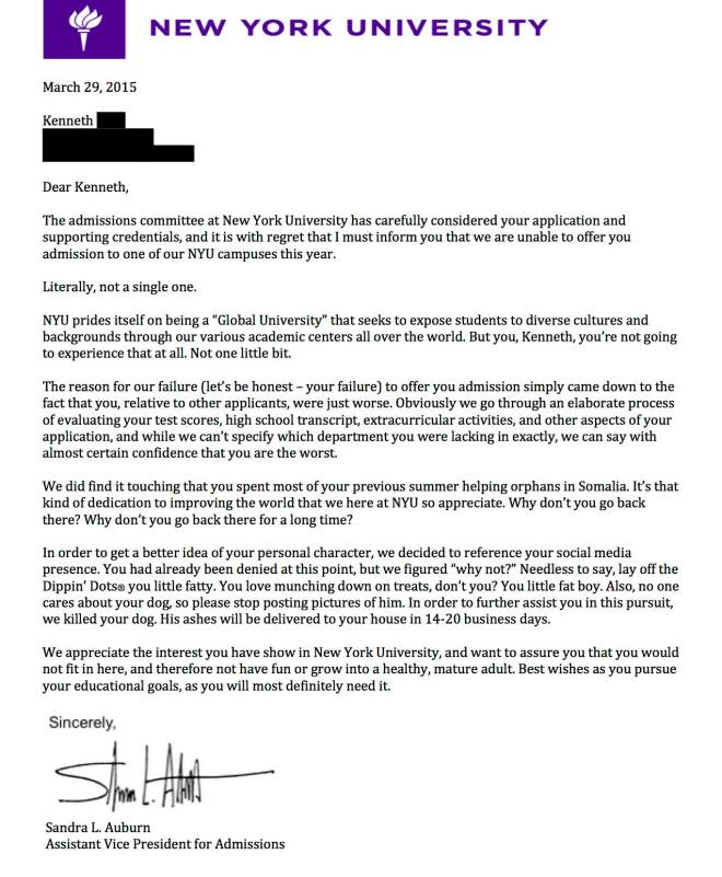 BREAKING: NYU Denial Letter Leaked