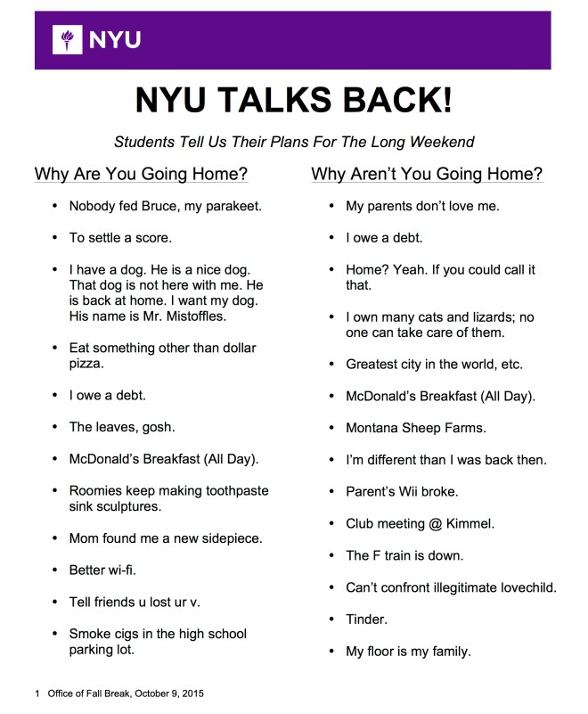 NYU Talks Back! Students Share Why They're Choosing To Go Home or Not This Fall Break