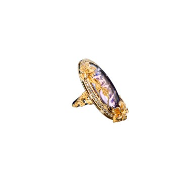 DA13450 011018 - Emperatriz Cascada maxi ring in yellow gold, amethyst and diamonds