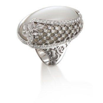 DA13600 029919 - Sierpes maxi ring in white gold, moonstone and diamonds