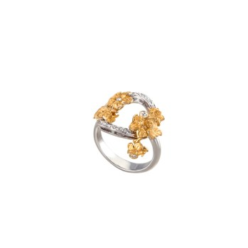 DA13651 030101 - Emperatriz Bouqet mini ring in yellow and white gold with diamonds