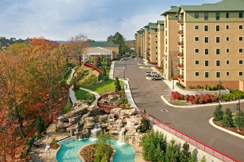 View of the Condos overlooking the Lazy River at the Riverstone Resort in Pigeon Forge