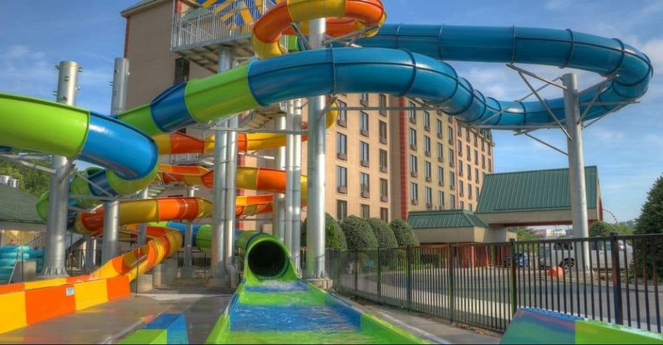 View of the splash zone at one of the Water Slides at the Water Park at Country Cascades in Pigeon Forge 960