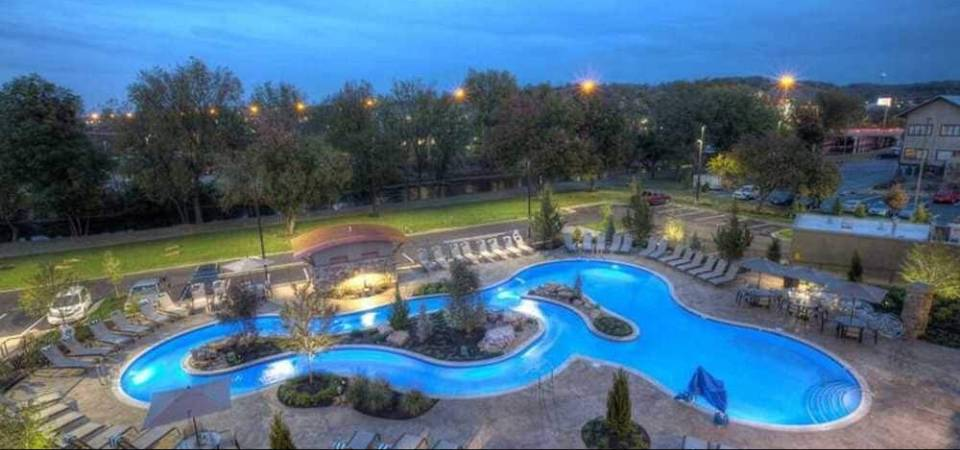 View of the Outdoor Pool Heated Pool with Lazy River from one of the Balconies at the Courtyard Marriott in Pigeon Forge 960