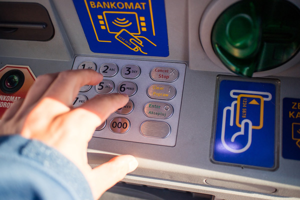 Pushing number on an ATM machine