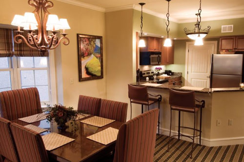 View of the Kitchen with Granite Counter-tops and Stainless Steel Appliances at the Riverstone Resort in Pigeon Forge Tn