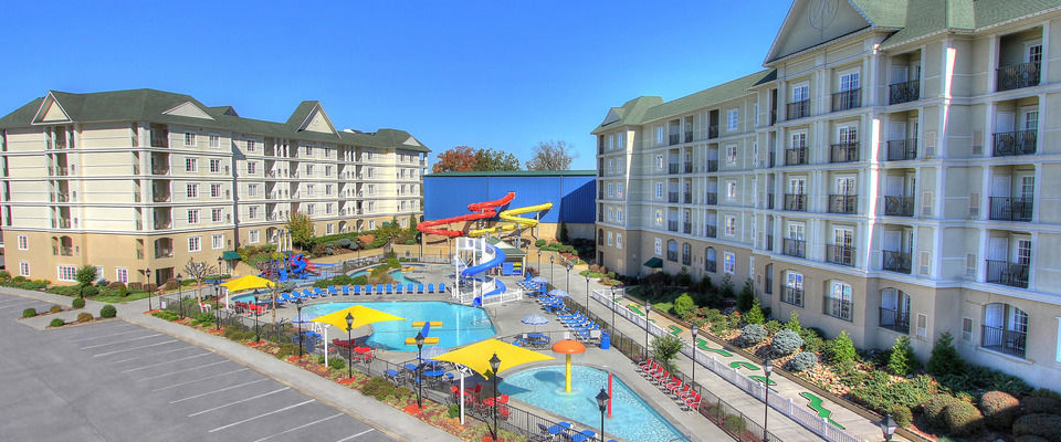 View of the Outdoor Water Park between the main buildings at the Resort at Governors Crossing in Sevierville Tn