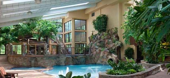 Park Vista in Gatlinburg Indoor Pool with Water Slide in Rock Formation