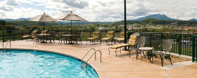 Lounging around the outdoor Pool area at the Wyndham Smoky Mountains wide