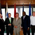Speakers at Monday's event announcing the Northeast Florida Military Veteran College Network included, from left: Brigadier General (Ret) Michael Fleming, JU Chief Government, Military & Community Relations Officer; Florida State College at Jacksonville Provost Dr. Ian Neuhard; Jacksonville University President Tim Cost; City of Jacksonville Director of Public Affairs Bill Spann (representing Mayor Lenny Curry); Edward Waters College President Nat Glover; University of North Florida President John Delaney; and JAXUSA Partnership Senior Vice President Aaron Bowman.