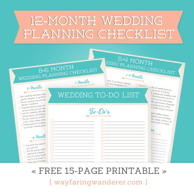 Wedding Planning Checklist  Free Printable
