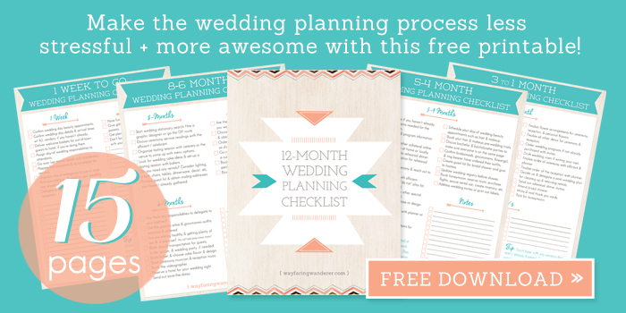 Free 12-Month Wedding Planning Checklist Printable