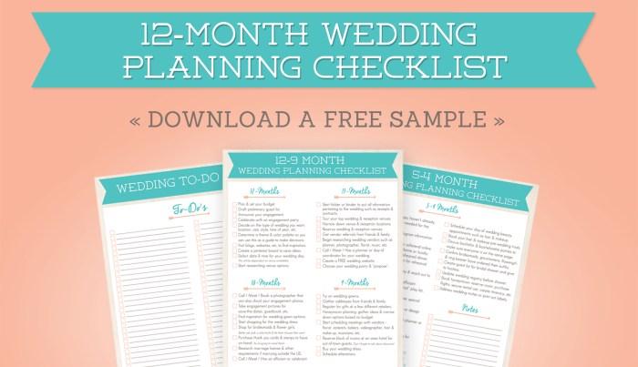 Free 12-Month Wedding Planning Checklist