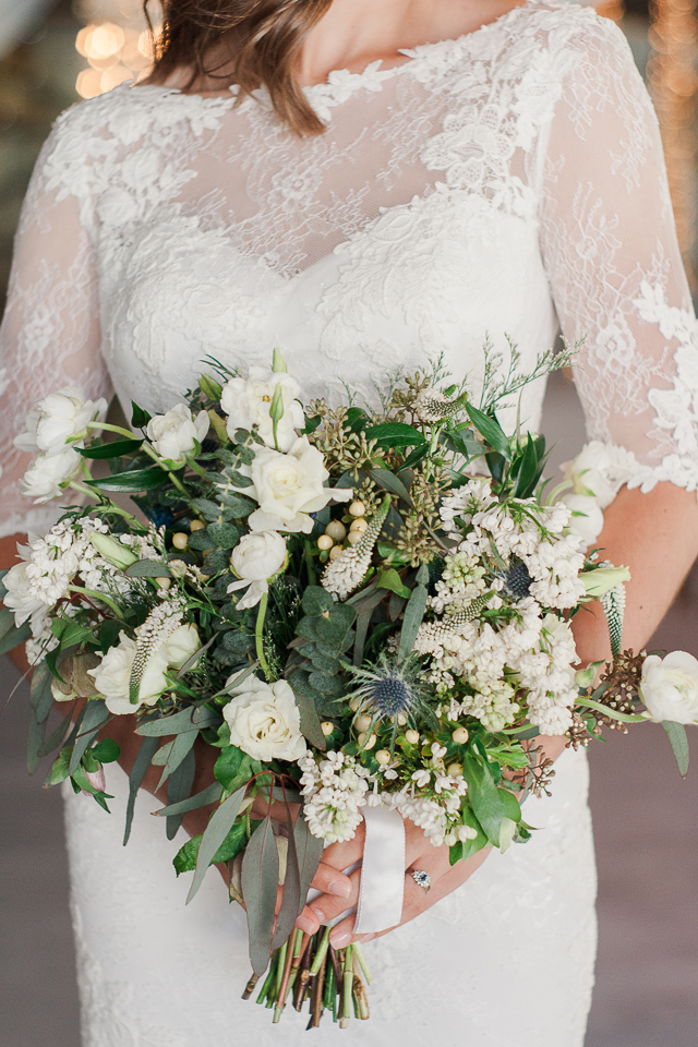 Classic Green & White Bouquet w/ Thistle