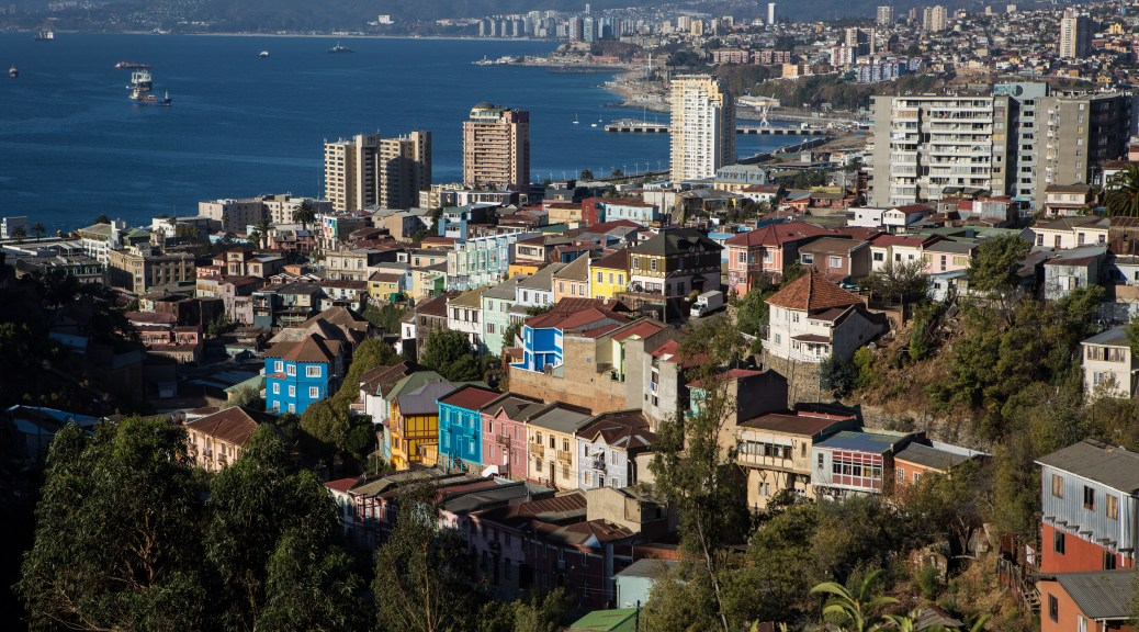 Valparaiso's architecture is world renown for it's brightly colored wood houses that cling precariously to hillsides.