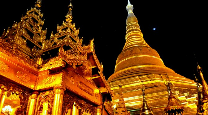 The Shwedagon Pagoda comes to life at night, radiating a golden light that makes it by far one of Yangons most beautiful places to go.