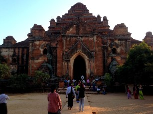Tourists line up to see another one of Bagan's many legendary temples.
