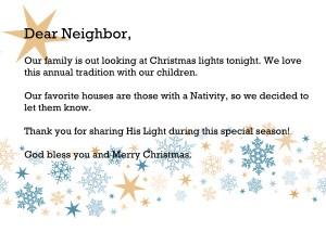 Dear Neighbor: