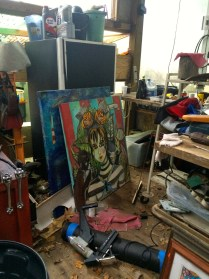 Art just piled up in the garage